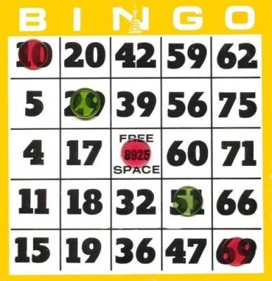 Yellow Bingo Card Clip Art